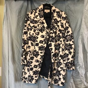 Merona white and navy floral trench coat S